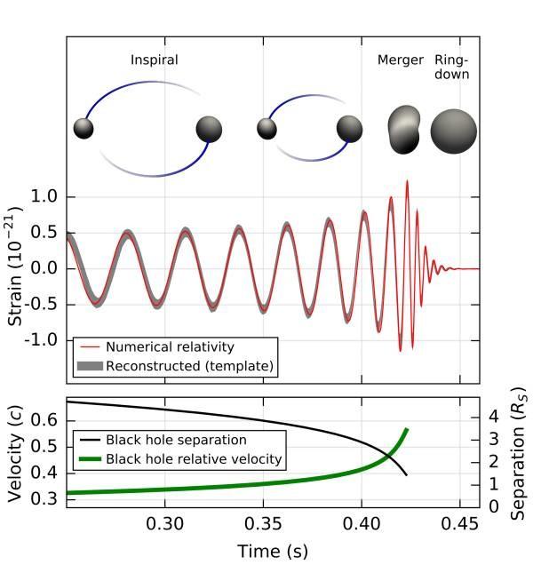 Estimasi gelombang gravitasi dari penggabungan dua buah lubang hitam yang terdeteksi oleh LIGO pada 14 September 2015 pukul 09:50:45 UTC. Sumber: www.ligo.org
