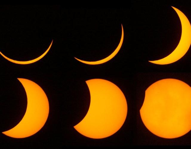 Kolase fase parsial Gerhana Matahari. Sumber: http://www.iomastronomy.org/