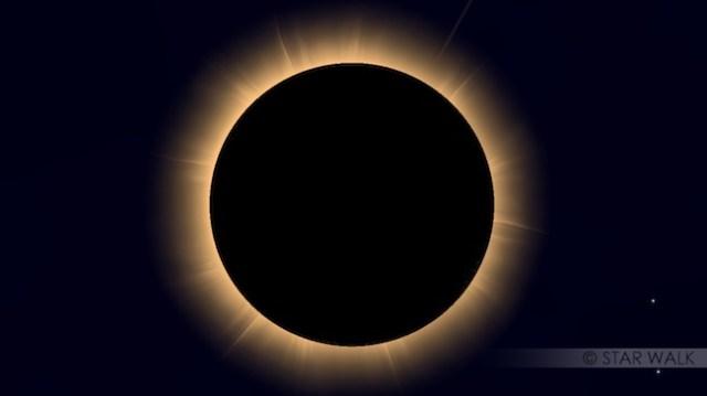 Simulasi Gerhana Matahari Total. Kredit: Star Walk