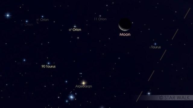 Bulan dan Aldebaran hanya terpisah 0,4º. Kredit: Star Walk