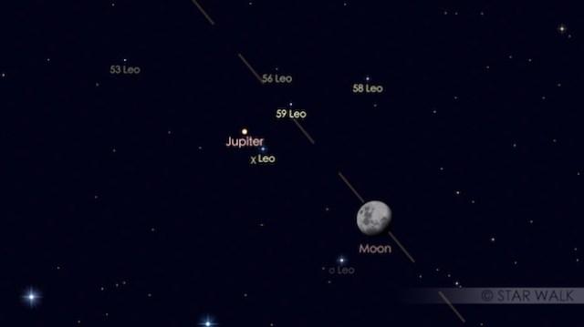 Bulan dan Jupiter hanya terpisah 2,4º. Kredit: Star Walk