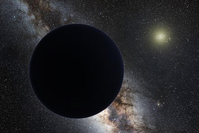 Ilustrasi Planet Sembilan dan Matahari di kejauhan. Kredit: ESO/Tomruen/nagualdesign