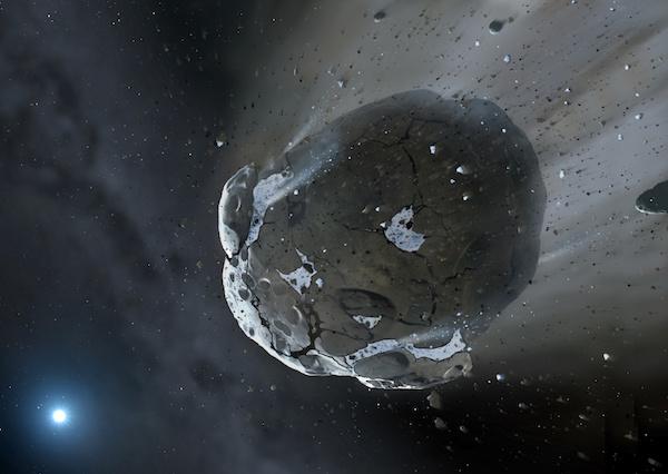 Ilustrasi asteorid yang baru saja ditemukan dan dinamai Asteroid 2016 HO3. Rupanya asteroid ini sudah menemani Bumi selama lebih dari 100 tahun saat mengitari Matahari. Kredit: Mark A. Garlick, Space-art.co.uk / Universitas Warwick / Universitas Cambridge.