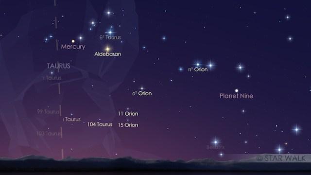 Merkurius dan bintang Aldebaran di langit fajar 19 Juni 2016. Kredit: Star Walk