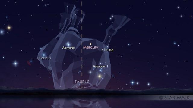 Merkurius dan gugus Pleiades saat menjelang fajar tanggal 13 Juni 2016. Kredit: Star Walk