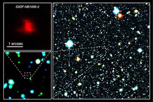 Galaksi jauh SXDF-NB1006-2 yang dilihat Teleskop Subaru. Kredit: NAOJ
