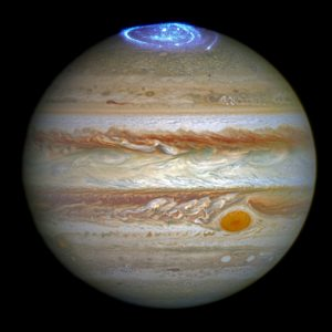 Aurora yang dipotret oleh Teleskop Hubble. Kredit: NASA, ESA, dan J. Nichols Universitas Leicester