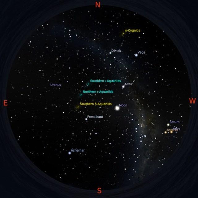 Peta langit tanggal 16 Agustus 2016 pukul 23:56 WIB. Bima Sakti membentang dari timur laut ke barat daya. Bintang-bintang terang dapat digunakan sebagai panduan dalam mencari benda langit. Kredit: Star Walk