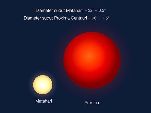 Perbandingan penampakan Matahari ketika dilihat dari Bumi dan Proxima Centauri saat dilihat dari Proxima b. Ukuran Proxima Centauri memang lebih kecil dari Matahari, tapi karena jarak Proxima yang dekat dengan bintang maka Proxima Centauri tampak 3 kali lebih besar dibanding Matahari jika dilihat dari Bumi. Kredit: ESO/G. Coleman