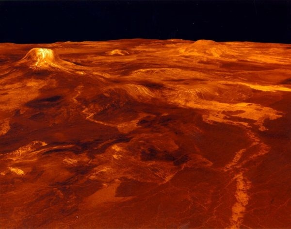 Permukaan Venus yang panas. Hasil komputasi daerah Eistla Regio. Kredit: NASA