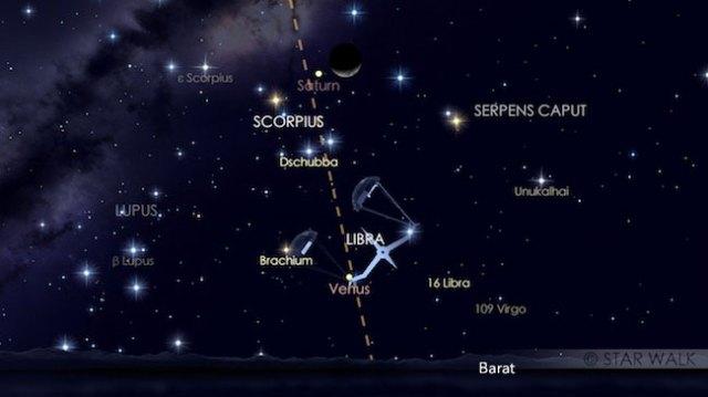 Pasangan Bulan dan Saturnus tanggal 6 Oktober 2016 pukul 19:00 WIB. Kredit: Star Walk