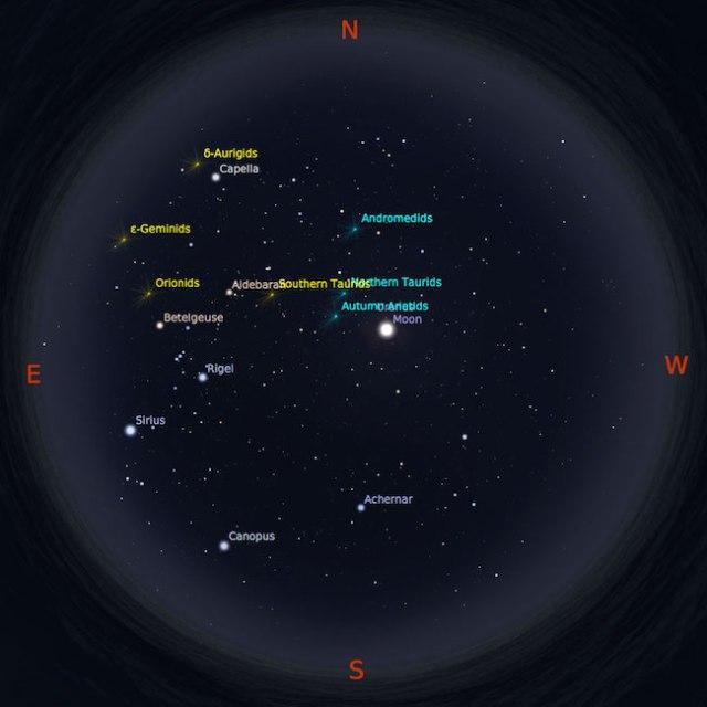 Peta bintang 15 Oktober 2016 pukul 23:59 WIB. Hujan meteor Orionid akan ditemani Bulan Cembung Kredit: Stellarium
