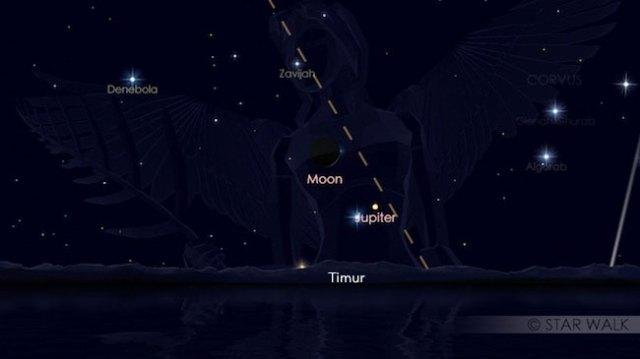 Pasangan Bulan dan Jupiter jelang fajar tanggal 28 Oktober 2016 pukul 04:30 WIB. Kredit: Star Walk