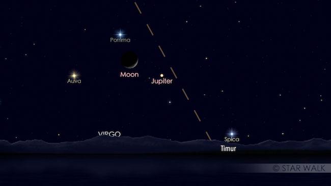 Pasangan Bulan dan Jupiter sebelum fajar pada tanggal 26 November 2016 pukul 03:00 WIB. Kredit: Star Walk
