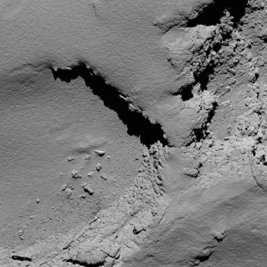 Dari ketinggian 5,8 km. Kredit: ESA/Rosetta/MPS for OSIRIS Team MPS/UPD/LAM/IAA/SSO/INTA/UPM/DASP/IDA