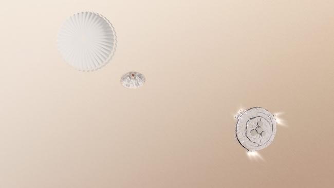 Gambar 3. Gambaran simulatif saat pendarat Schiaparelli melepaskan parasut supersoniknya dan mulai menyalakan roket-roket retronya. Sejauh ini ESA mengatakan pada titik inilah masalah yang diderita pendarat Schiaparelli bermula. Sumber: ESA, 2016.