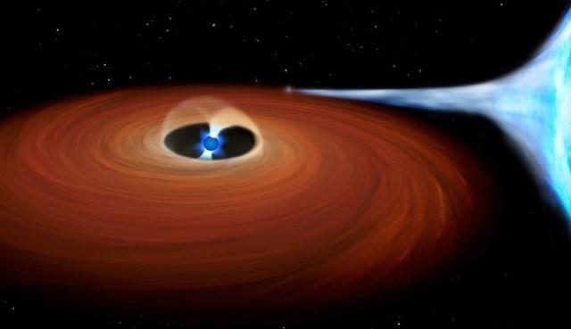 ULX si bintang super terang yang jadi sumber sinar-X. Ternyata ULX ini bukan lubang hitam tapi pulsar, si bintang berdenyut. Kredit: NAOJ