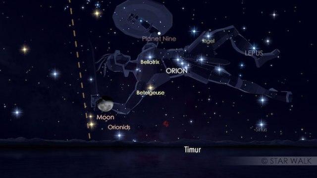 Hujan meteor Orionid dan Bulan yang baru terbit tanggal 20 Oktober malam. Kredit: Star Walk