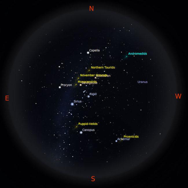 Peta bintang 1 Desember 2016 pukul 23:59 WIB. Kredit: Stellarium