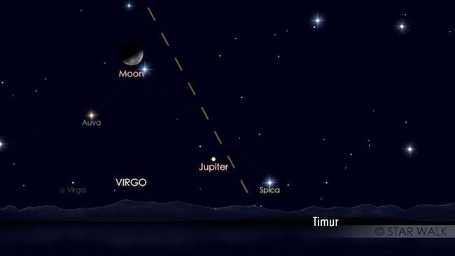 Konjungsi Bulan dan Jupiter jelang fajar tanggal 22 Desember 2016 pukul 01:20 WIB. Kredit: Star Walk