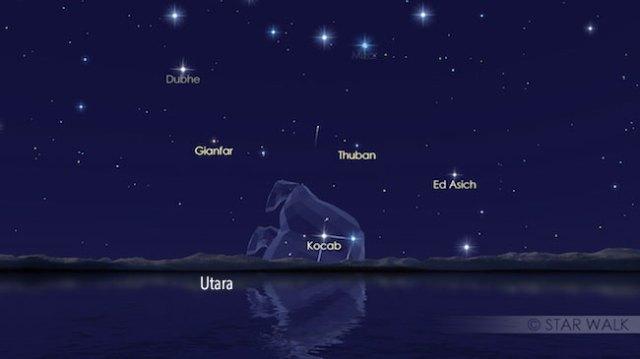 Hujan Meteor Ursid di rasi Ursa Minor pada tanggal 23 Desember pukul 05:18 WIB. Kredit: Star Walk