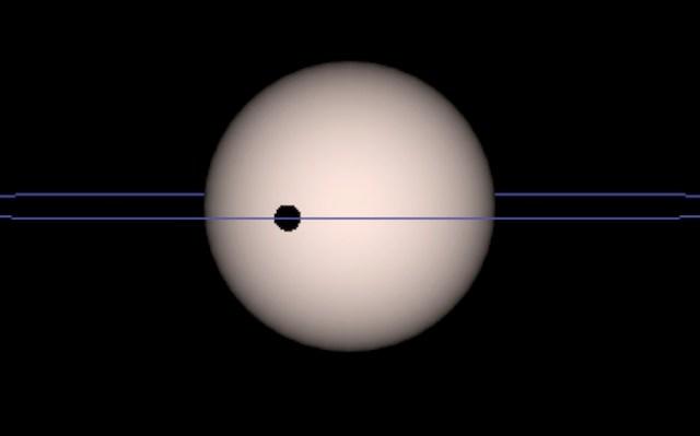Transit planet yang menyebabkan peredupan bintang atau penurunan intensitas cahaya sesaat ketika planet menghalangi bintang. Kredit: SuperWASP