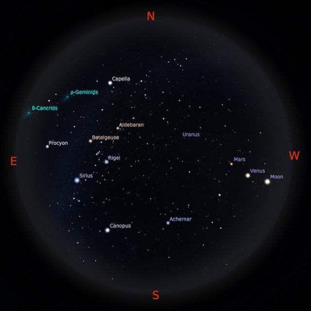 Peta Bintang 1 Januari 2017 pukul 19:00 WIB. Kredit: Stellarium