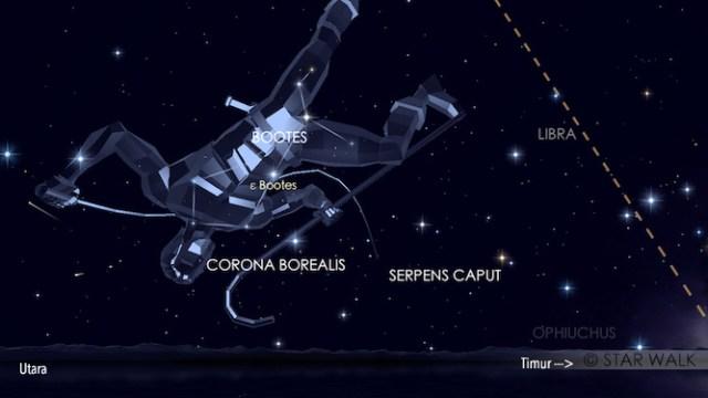 Hujan meteor Quadrantid. Ini adalah simulasi 3 Januari pukul 04:00 WIB. Kredit: Star Walk