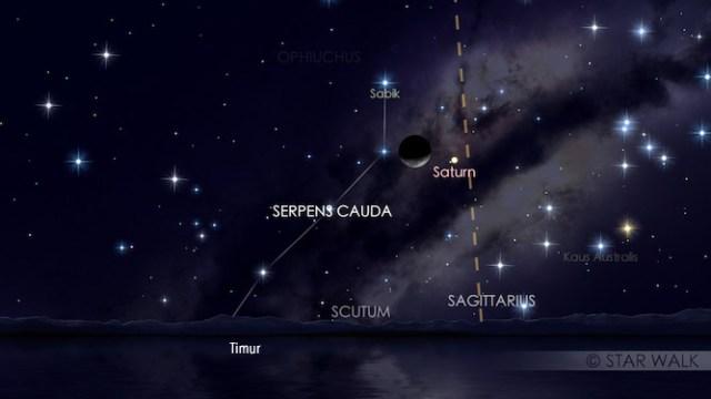 Konjungsi Bulan dan Saturnus tanggal 21 Februari untuk pukul 03:00 WIB: Kredit: Star Walk