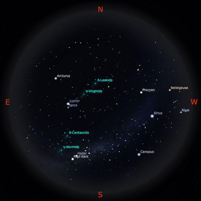 Peta bintang 1 Maret 2017 pukul 23:59 WIB. Kredit: Stellarium
