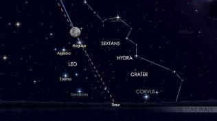 Pasangan Bulan dan Regulus, pada tanggal 10 Maret 2017 pukul 19:00 WIB. Kredit: Star Walk