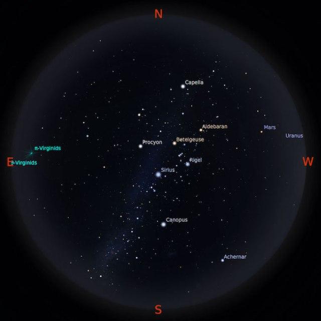 Peta bintang 15 Maret 2017 pukul 19:00 WIB. Kredit: Stellarium