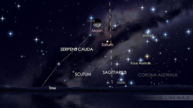 Pasangan Bulan dan Saturnus, pada tanggal 20 Maret 2017 pukul 01:00 WIB. Kredit: Star Walk