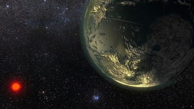 Ilustrasi bintang dan planet di sistem GJ411. Kredit: Ricardo Ramirez.