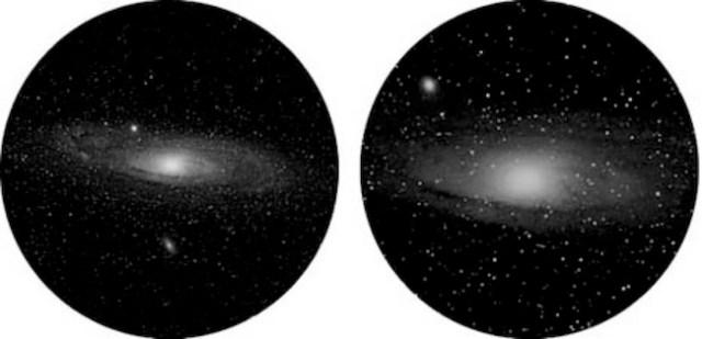 Galaksi Andromeda dilihat dari teleskop yang berbeda. (sumber: pics-about-space.com)