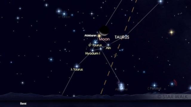 Pasangan Bulan dan Aldebaran 1 April 2017 pukul 20:30 waktu lokal. Kredit: Star Walk