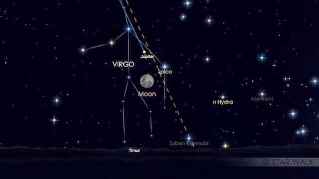 Pasangan Bulan dan Jupiter 11 April 2017 pukul 19:30 waktu lokal. Kredit: Star Walk