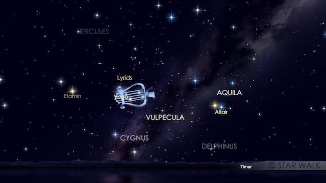 Hujan meteor Lyrid yang tampak pada tanggal 22 April 2017 pukul 01:00 waktu lokal. Kredit: Star Walk