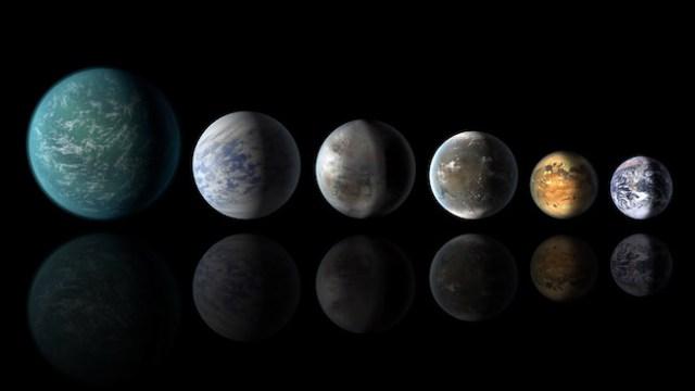 Planet mirip Bumi di zona laik huni yang sudah ditemukan Kepler. Dari kiri ke kanan: Kepler-22b, Kepler-69c, the just announced Kepler-452b, Kepler-62f, Kepler-186f dan Bumi. Kredit: NASA