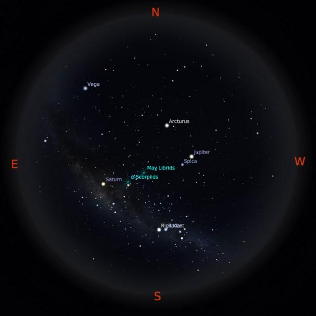 Peta bintang 1 Mei 2017 pukul 23:59 WIB. Kredit: Stellarium