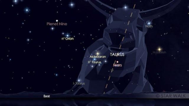 Pasangan Mars dan Aldebaran tanggal 5 Mei 2017 pukul 18:30 waktu lokal. Kredit: Star Walk