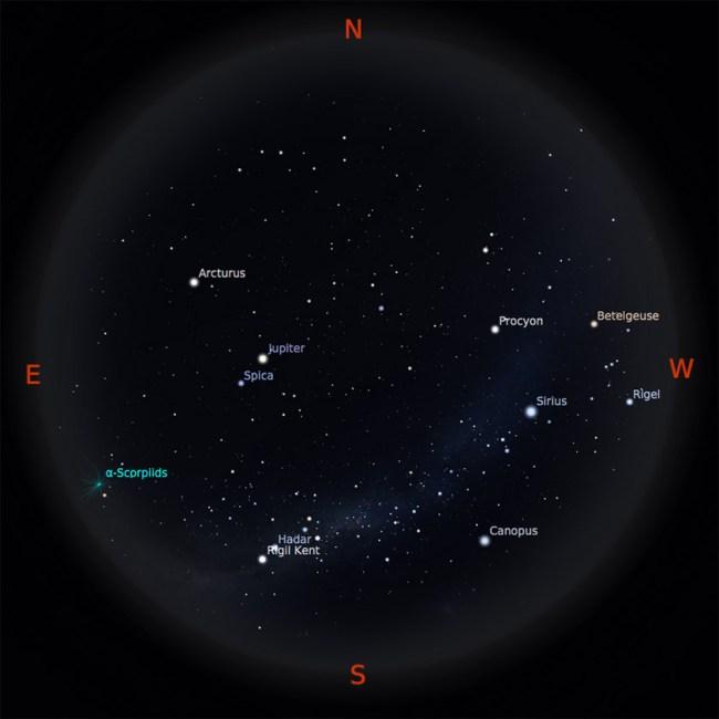 Peta bintang 15 Mei 2017 pukul 19:00 WIB. Kredit: Stellarium