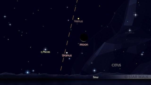 Pasangan Bulan dan Venus yang terbit jelang fajar pada tanggal 23 Mei 2017 pukul 04:00 waktu lokal. Kredit: Star Walk