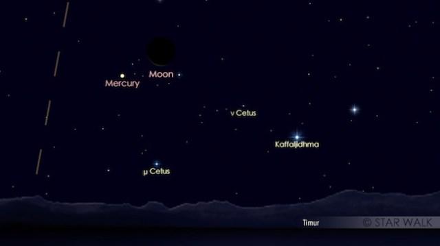 Pasangan Bulan dan Merkurius yang terbit jelang fajar pada tanggal 24 Mei 2017 pukul 04:45 waktu lokal. Kredit: Star Walk