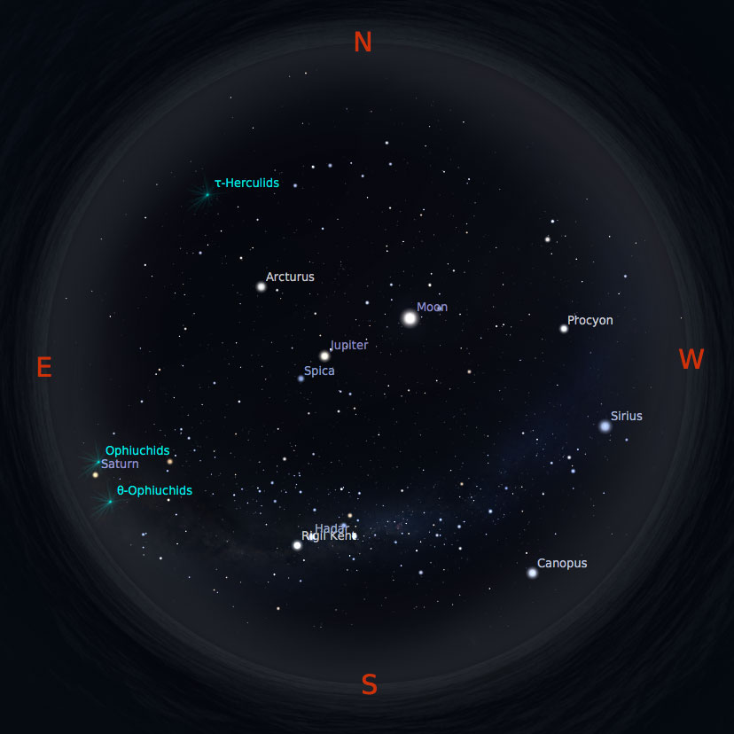 Peta bintang 1 Juni 2017 pukul 19:00 WIB. Kredit: Stellarium
