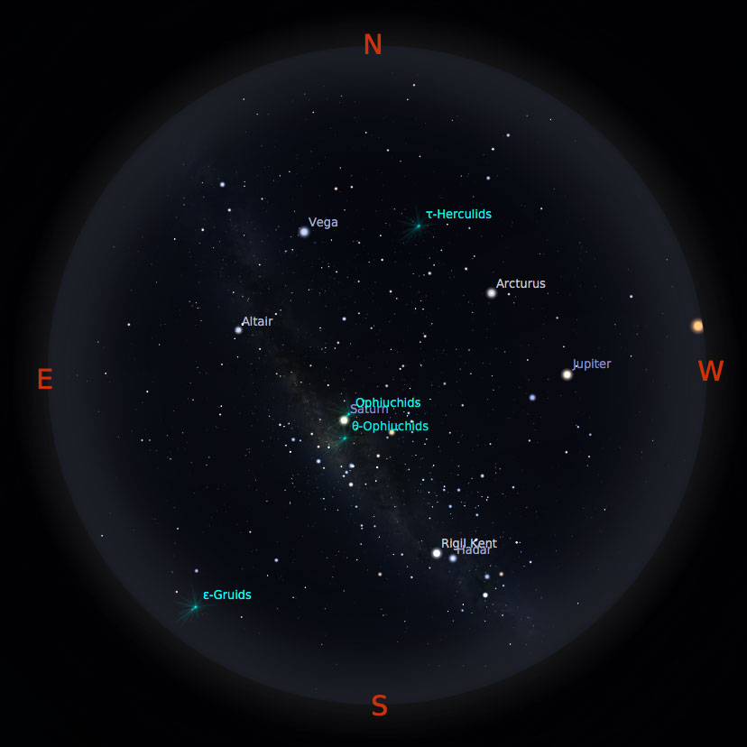 Peta bintang 1 Juni 2017 pukul 23:59 WIB. Kredit: Stellarium