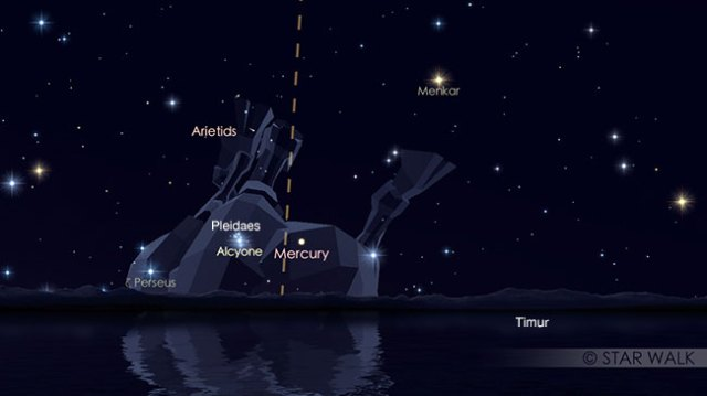 Pasangan Merkurius dan Pleiades tanggal 7 Juni 2017 pukul 05:15 waktu lokal. Keduanya bisa diamati jelang fajar. Kredit: Star Walk