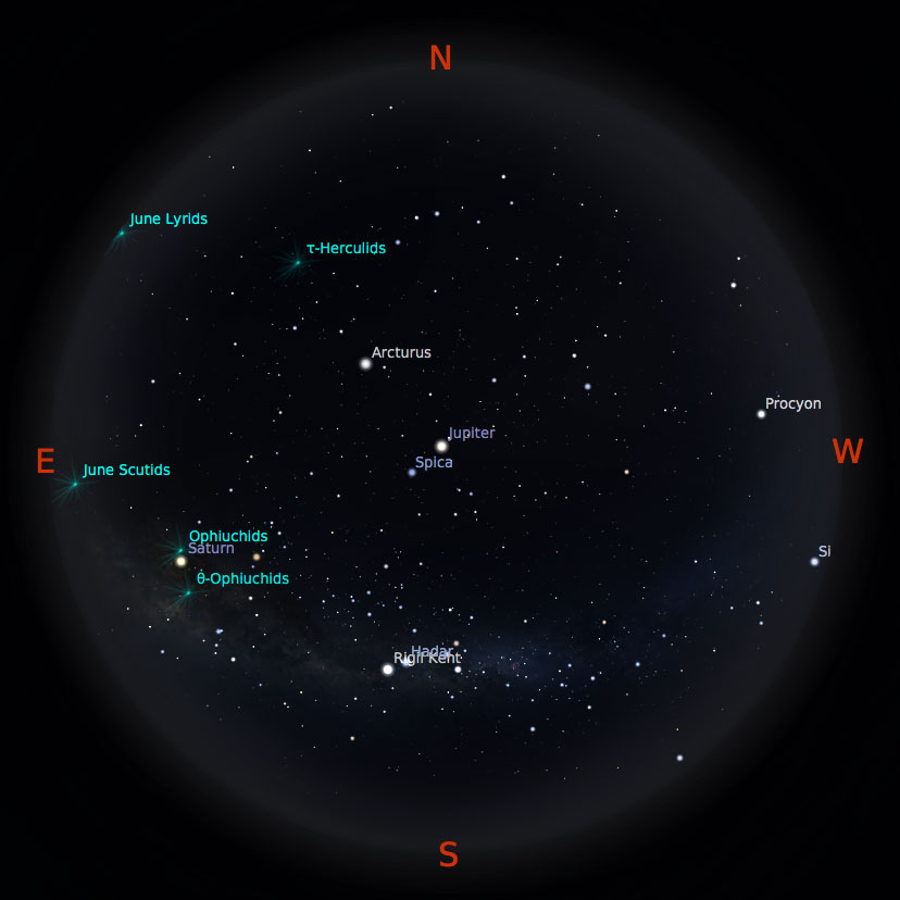 Peta bintang 15 Juni 2017 pukul 19:00 WIB. Kredit: Stellarium