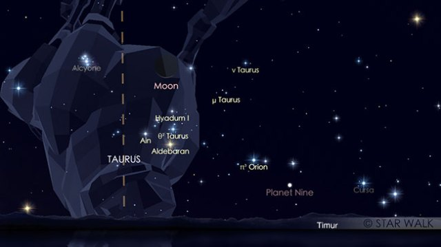 Pasangan Bulan dan Aldebaran tanggal 22 Juni 2017 pukul 05:15 waktu lokal. Kredit: Star Walk
