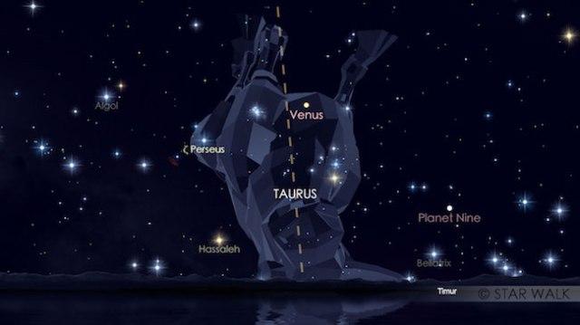 Pasangan Venus dan Pleiades di langit timur pukul 04:30 WIB. Kredit: Star Walk